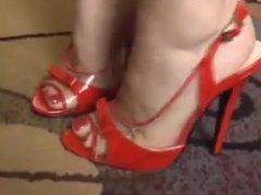 Bare Feet In Open High Heels 24