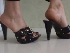 Bare Feet In Open High Heels 15