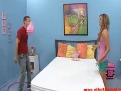cute small tiny teen blond come look studio with friend and do her first po