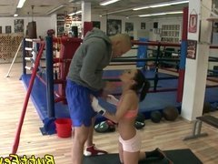 Glam babe anally banged after training