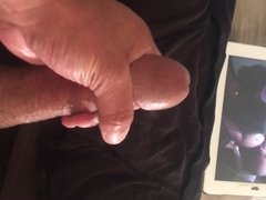 Stroking my cock with a nice cum load