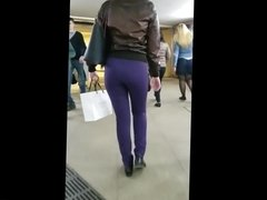 Booty tight ass in metro station