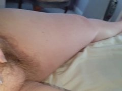 wife rubbing her own soft hairy pussy mound