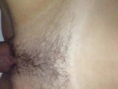 slowmotion cum in my girlfriends hairy pussy