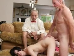 Old people and lady interracial first time