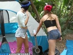 Camping teen facialized