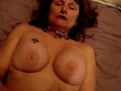 Mature wife with nice tits takes a hard cock