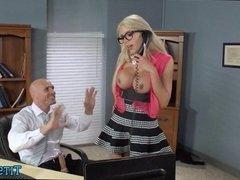 Blonde Babe Fucking around at work