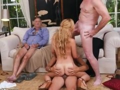 Old guy fucks young chick white guys