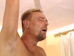 Shooting a thick load in his buddy's face