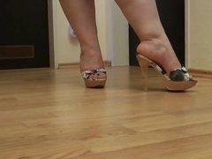 Grey Cork High Heels Mules