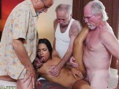 Old white guy and ebony hot girl man