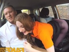 Fake Driving School busty redhead student fucked in her hairy ginger pussy