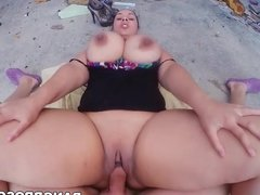 BBW big ass chubby brunette enjoys her raging hard big cock