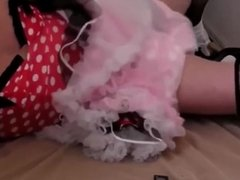 Adultbaby diapered sissy princess in pretty red dress