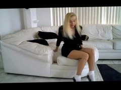 blonde in black heels and frilly socks