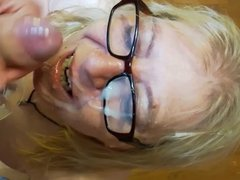 Cumming all over  my 54 years old neighbour face