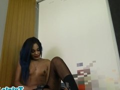 Natural titted ebony trans wanks hard cock