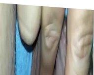 Dedilhando minha peluda buceta com calcinha de lado