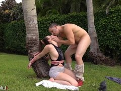 Tied up teen outside
