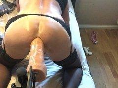 sissy slut fucked by fucking machine,hung dildo