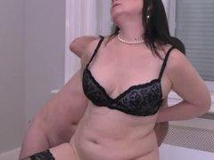 Hairy mature lady sucks and fucks in stockings
