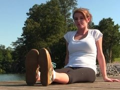 Amy teases her boat shoes and socked feet to you PREVIEW