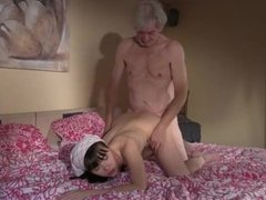 Old Young cleaning lady gets fucked by wrinkled grandpa and swallows cum