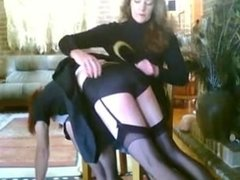 Beautiful Mistress spanking her sissy-maid with hairbrush