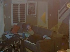 Spycam long blowjob ended by doorbell
