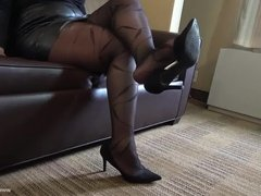 Nishay Black Pantyhose Shoeplay and Foot Play