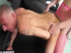 Latin shemale hard fuck and cum on ass