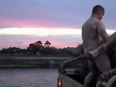 Military hunk assfucked outdoors at sunset