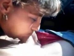 Latina milf blows and gets a mouthful in the car