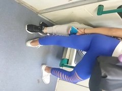 teen with slutty blue leggings and hot ass