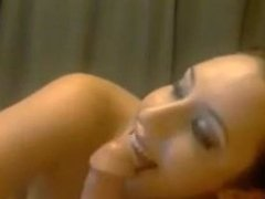 20-years old girl sucks cock and gets facial