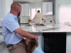 Father cum inside boss's daughter first