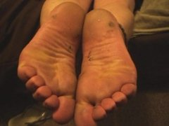 Pissing Hard on Andrea's Dirty Feet