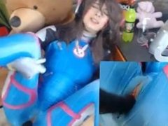 Girl in cosplay catsuit