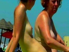 Spy Beach Mature caught hidden filming lesbian puffy Nipples