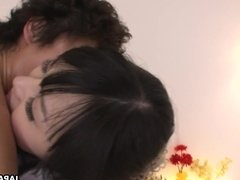 Cute brunette Asian teen getting missionary fucked