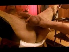 playing with the balls and cock
