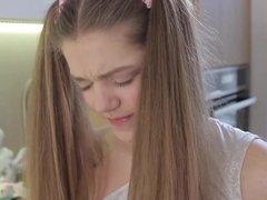 cute teen girl Kira in the kitchen