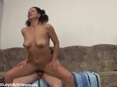 Brunette Mature Couch Sex With Young Boyfriend