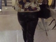 Ass in leather pants on front