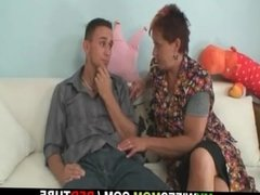 He gets seduced by his GF's old mom