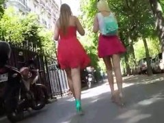 Upskirt: Two Blonde in mini skirt and shoes