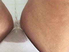 Peeing in white panties