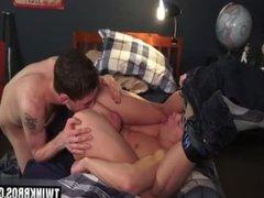 Brunette twink anal sex and cumshot