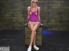 Blonde amateur rough doggy Halle Von is in